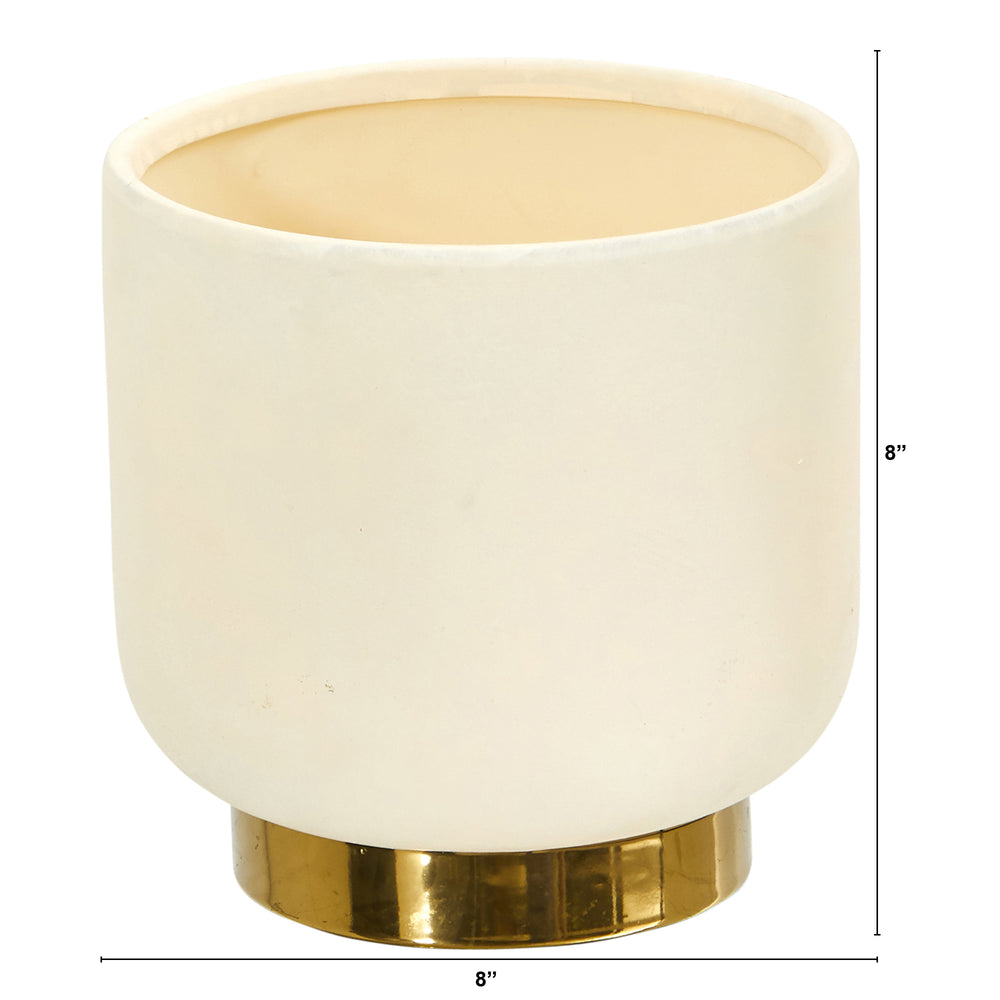"Load image into Gallery viewer, 8"" ELEGANCE CERAMIC PLANTER WITH GOLD ACCENTS"