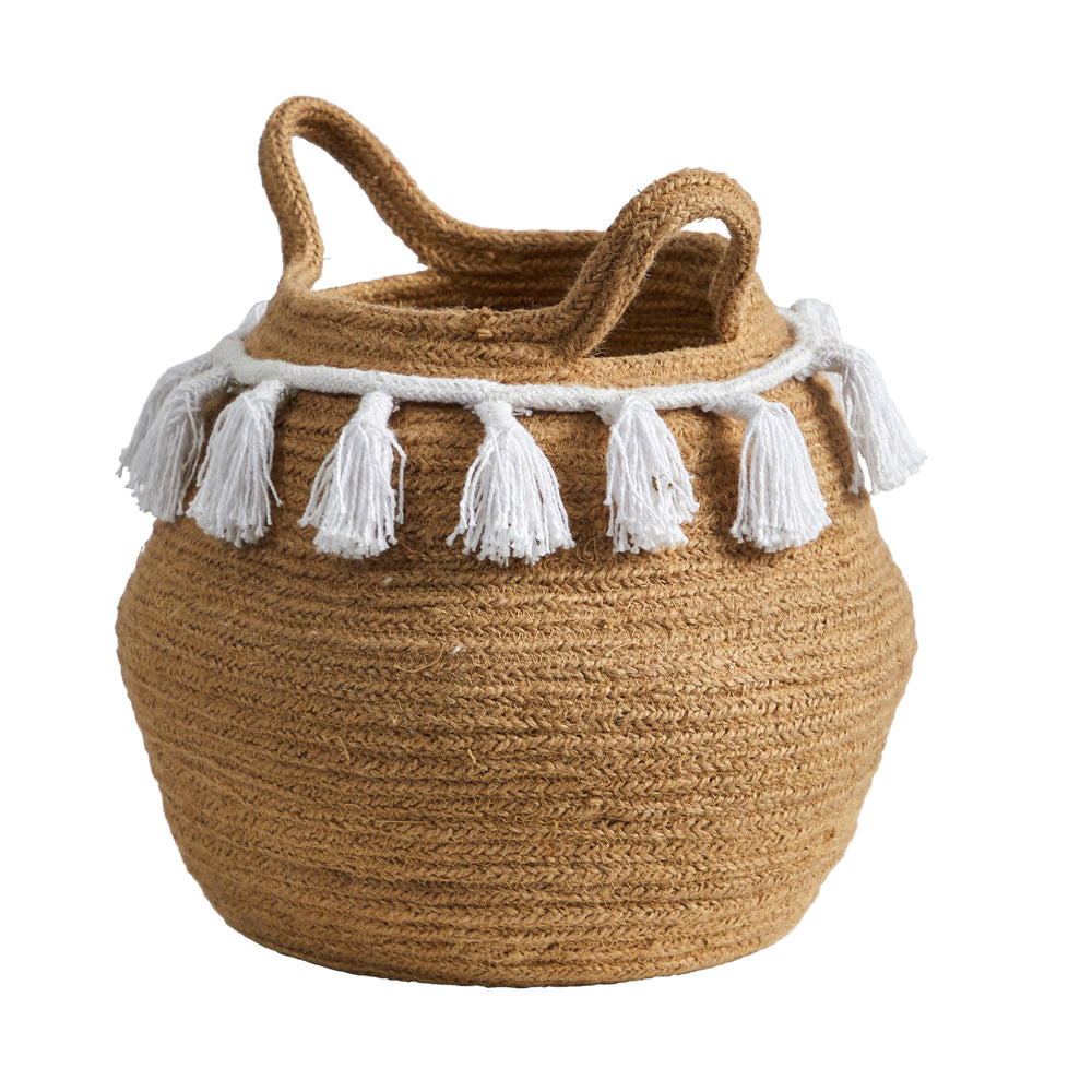 "11"" BOHO CHIC HANDMADE NATURAL COTTON WOVEN PLANTER WITH TASSELS"