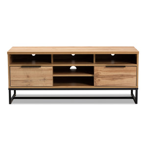INDUSTRIAL OAK FINISHED WOOD AND BLACK METAL 2-DRAWER TV STAND