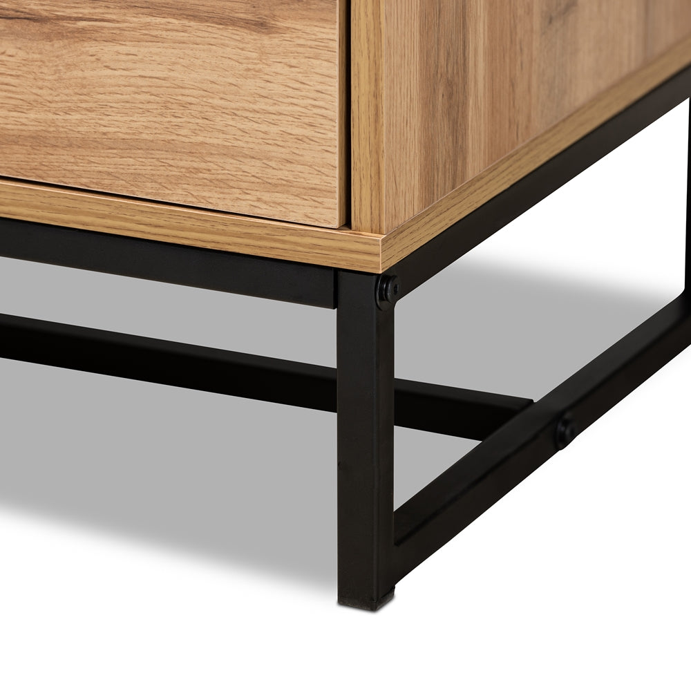 Load image into Gallery viewer, INDUSTRIAL OAK FINISHED WOOD AND BLACK METAL 2-DRAWER TV STAND