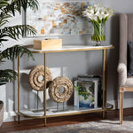 DOMINIC MODERN AND CONTEMPORARY GOLD METAL CONSOLE TABLE WITH FAUX MARBLE TABLETOP