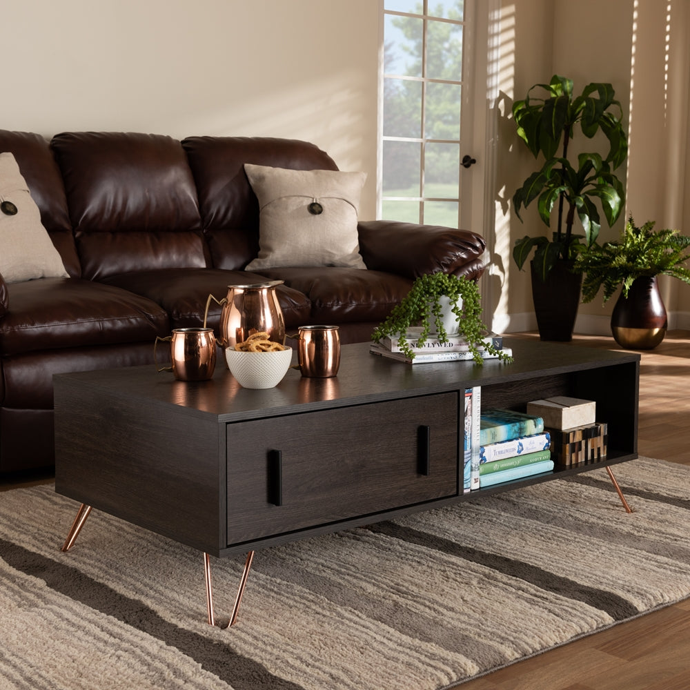 DARK BROWN FINISHED WOOD AND ROSE GOLD-TONE FINISHED METAL 2-DRAWER COFFEE TABLE