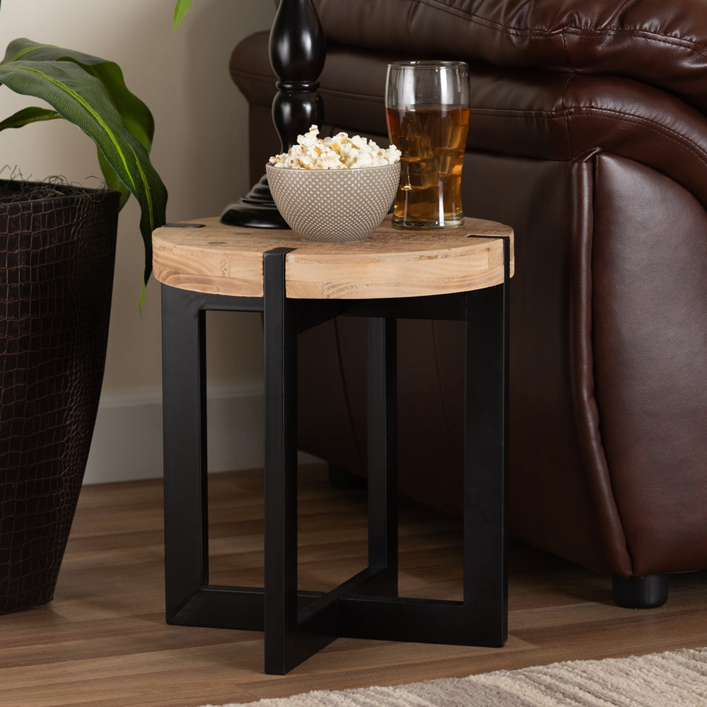 RUSTIC AND INDUSTRIAL NATURAL BROWN FINISHED WOOD AND BLACK FINISHED METAL END TABLE