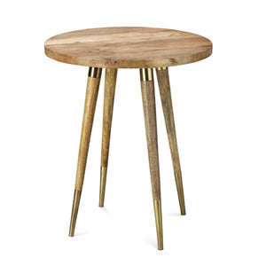 OWEN SIDE TABLE IN ANTIQUE BRASS WITH NATURAL WOOD
