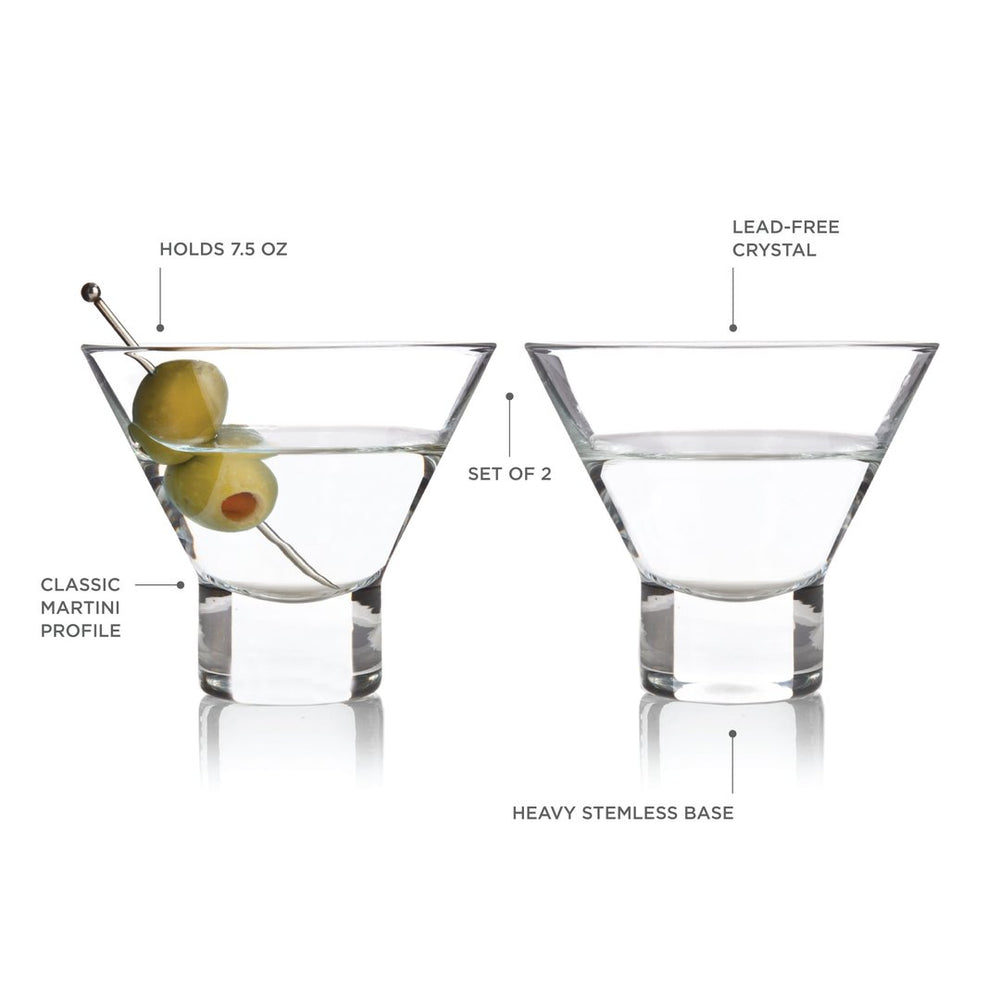 HEAVY BASE CRYSTAL MARTINI GLASSES