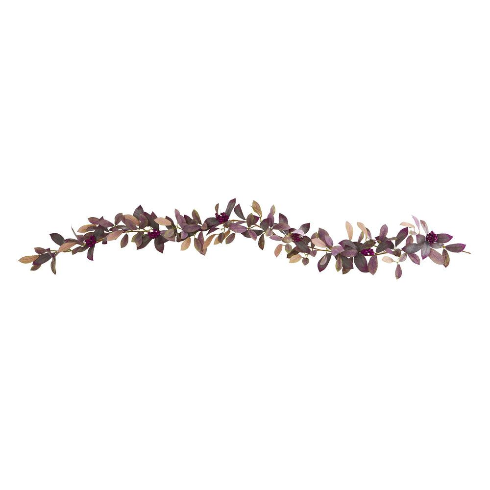 6' FALL LAUREL LEAF WITH BERRIES ARTIFICIAL GARLAND (SET OF 2)