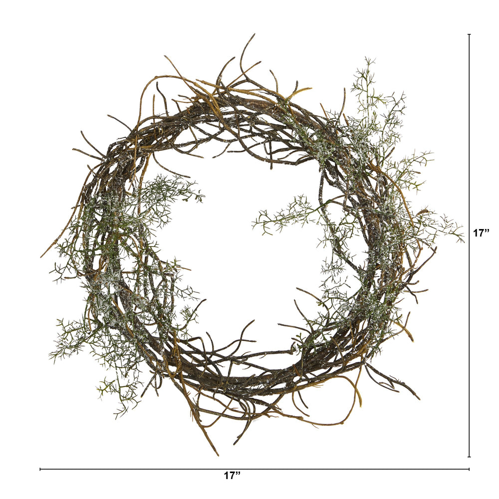 "17"" FROSTED TWIG WREATH"