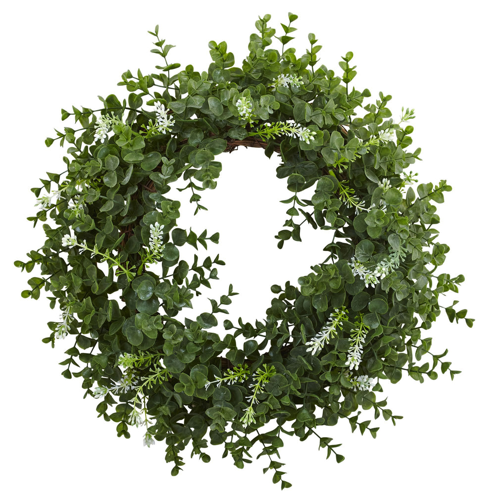 "18"" EUCALYPTUS DOUBLE RING WREATH WITH TWIG BASE"