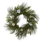 "26"" SPARKLING PINE ARTIFICIAL WREATH WITH DECORATIVE ORNAMENTS"