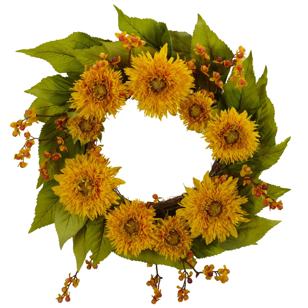 "Load image into Gallery viewer, 22"" GOLDEN SUNFLOWER WREATH"