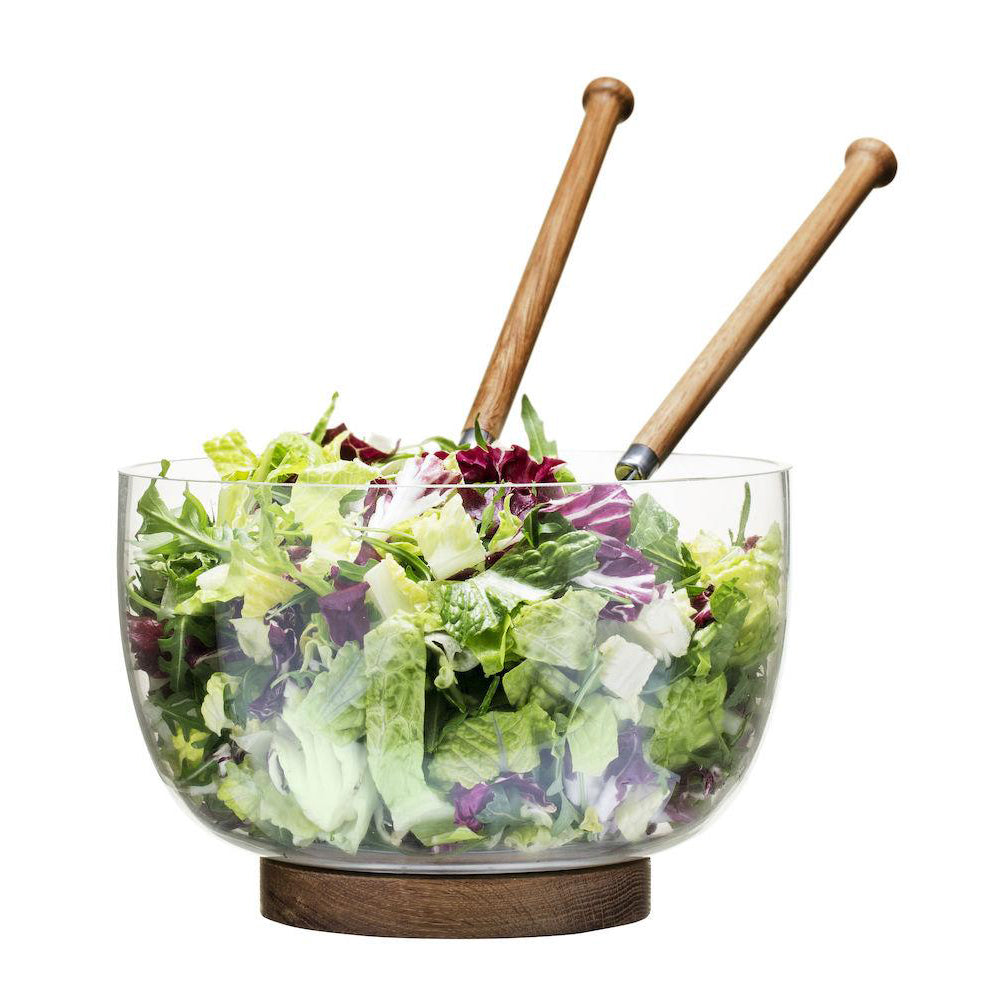 Load image into Gallery viewer, NATURE SALAD BOWL WITH OAK TRIVET