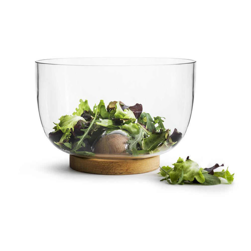 NATURE SALAD BOWL WITH OAK TRIVET