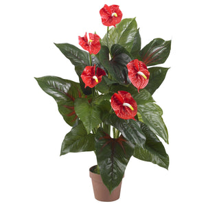 Load image into Gallery viewer, 3' ANTHURIUM SILK PLANT