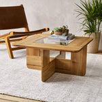 LYNDON TEAK COFFEE TABLE WITH GLASS TOP