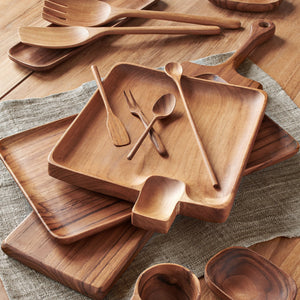 "CHIKU™ TEAK SERVING TRAY, 12"" x 7"""
