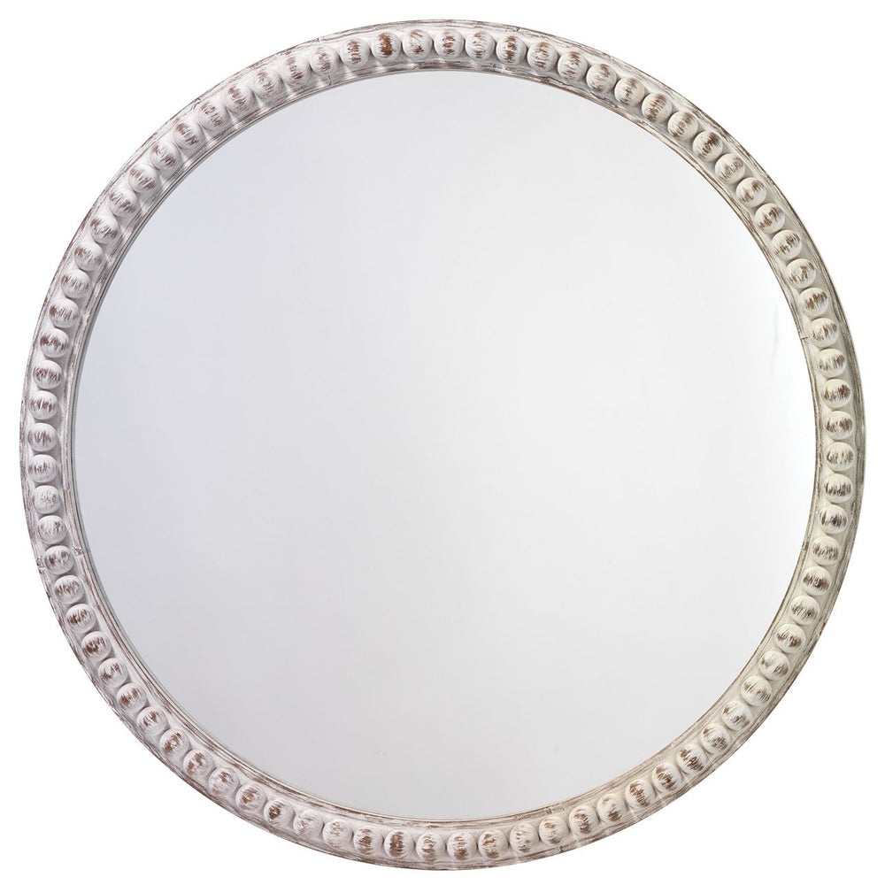 "AUDREY 30"" BEADED MIRROR IN WHITE WOOD"