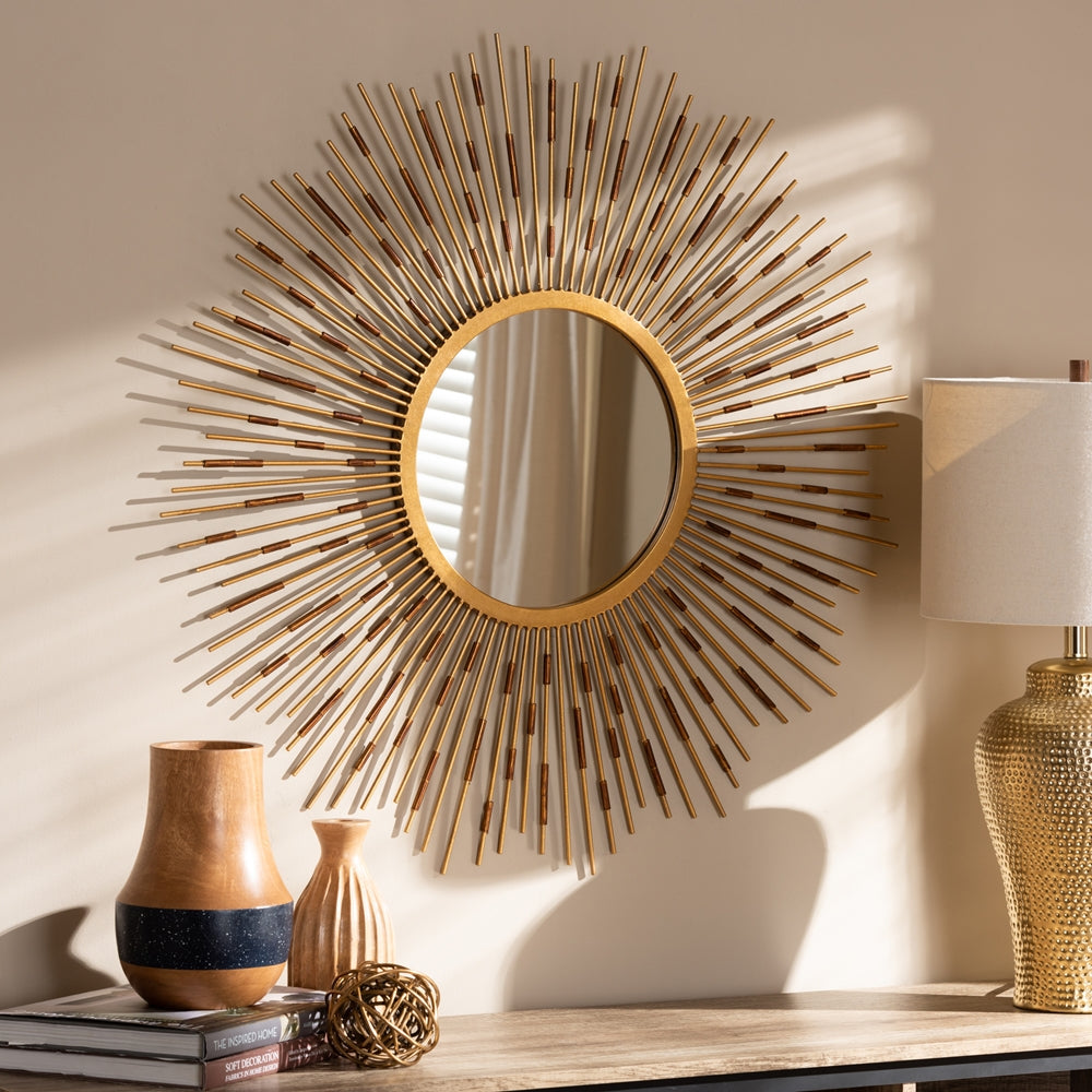 APOLLONIA MODERN AND CONTEMPORARY GOLD FINISHED SUNBURST ACCENT WALL MIRROR