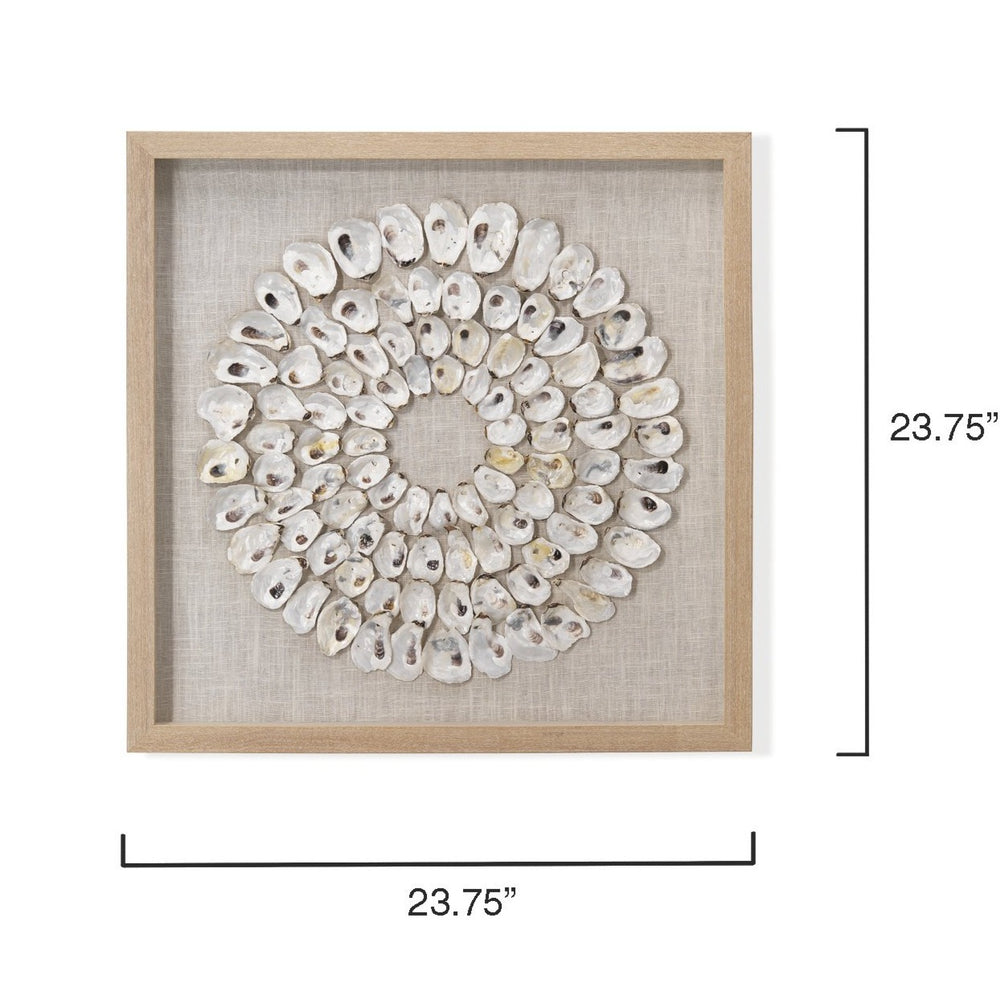 "MALDIVES 23.75"" FRAMED WALL ART IN WHITE ABALONE SHELLS"