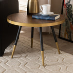 ROUND WALNUT WOOD AND METAL COFFEE TABLE WITH TWO-TONE BLACK AND GOLD LEGS