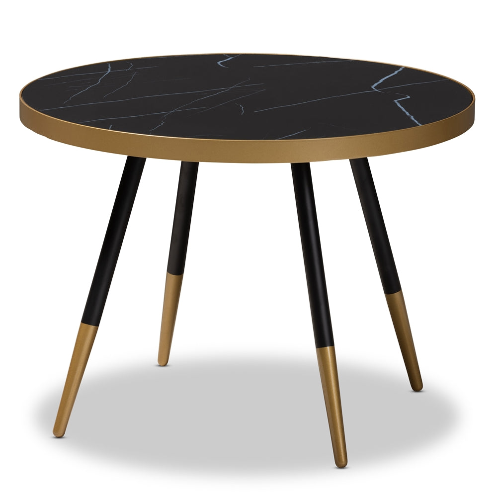 ROUND GLOSSY MARBLE AND METAL COFFEE TABLE WITH TWO-TONE BLACK AND GOLD LEGS