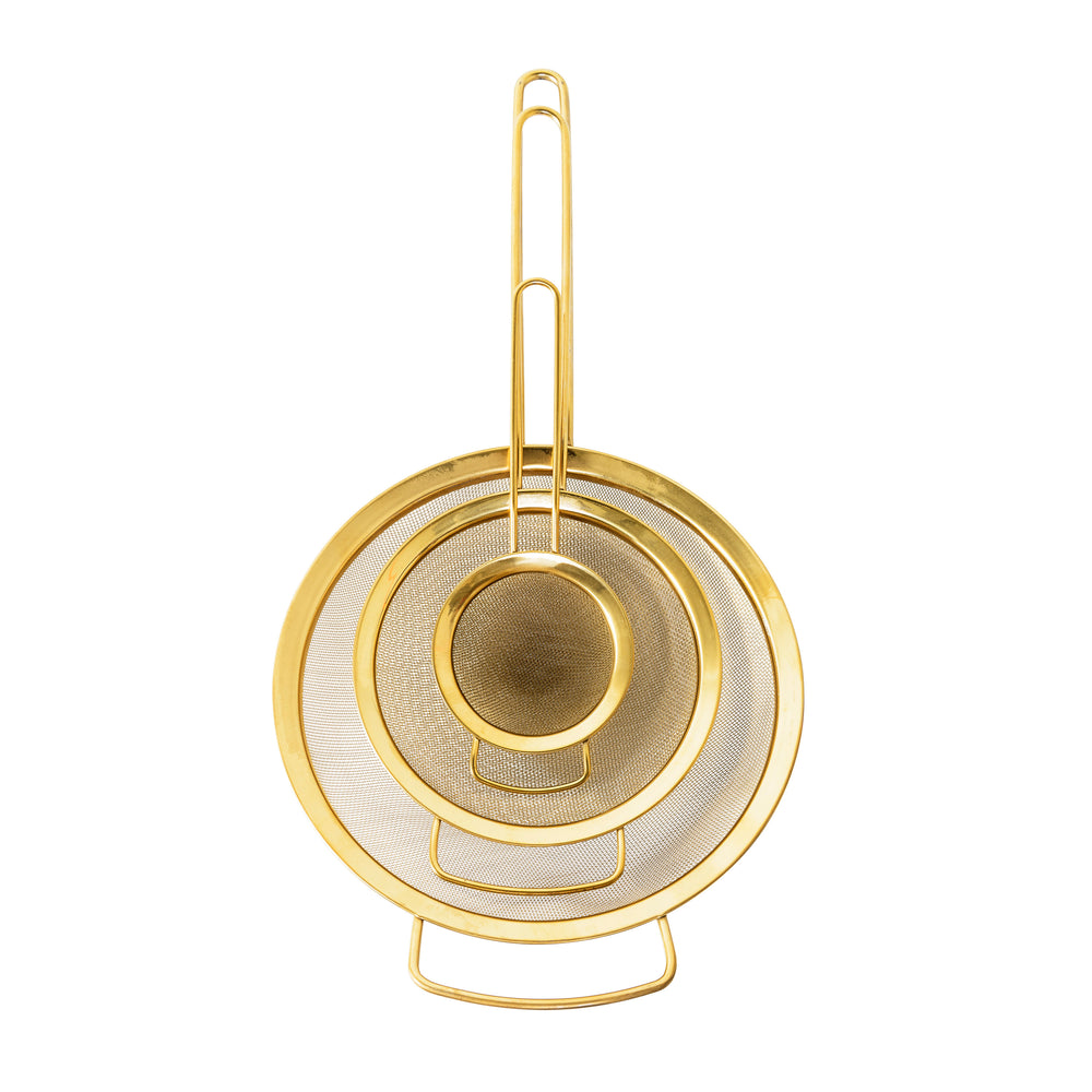 STAINLESS STEEL STRAINERS WITH GOLD FINISH, SET OF 3