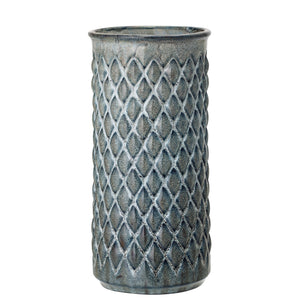BLUE EMBOSSED DIAMOND STONEWARE VASE