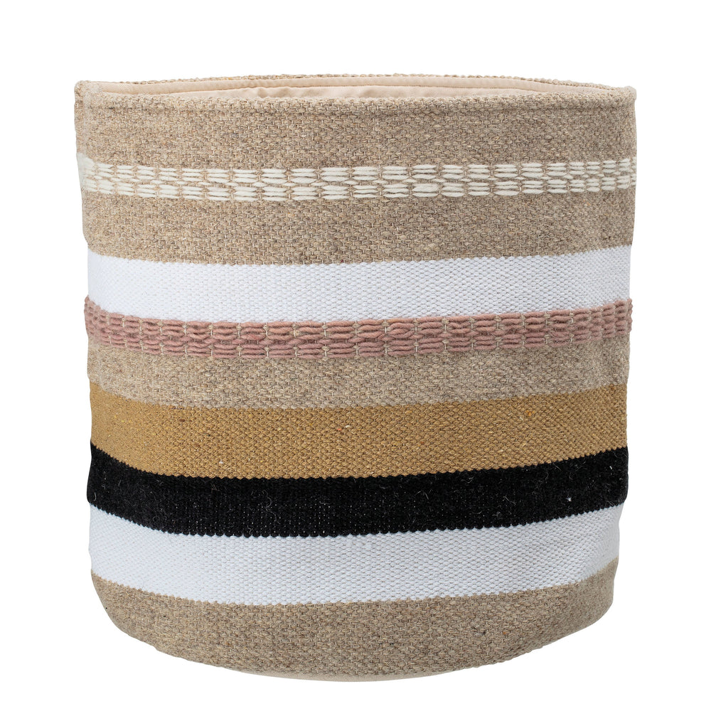 RUNNING STITCH WOOL & COTTON BASKET WITH GREY, TAN & BLUSH STRIPES