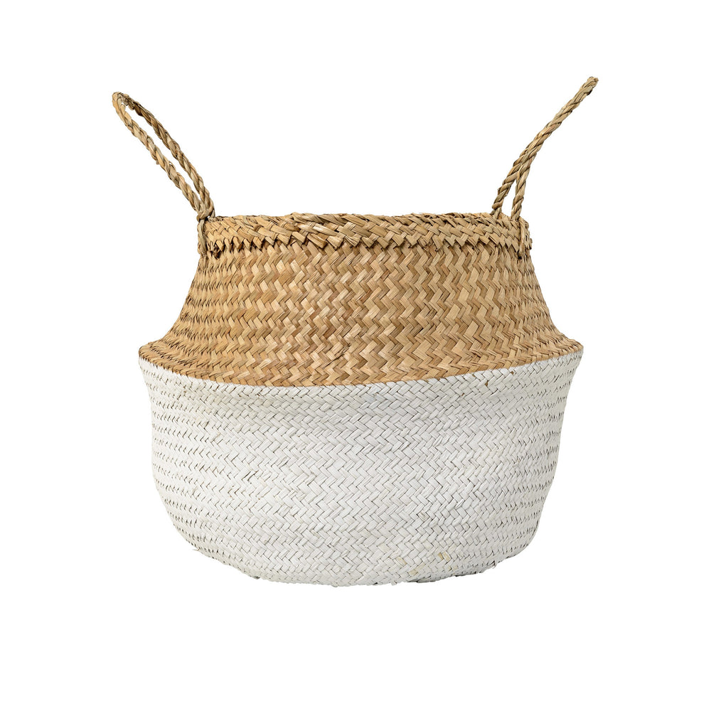 WHITE COLOR BLOCK SEAGRASS FOLDING BASKET WITH HANDLES