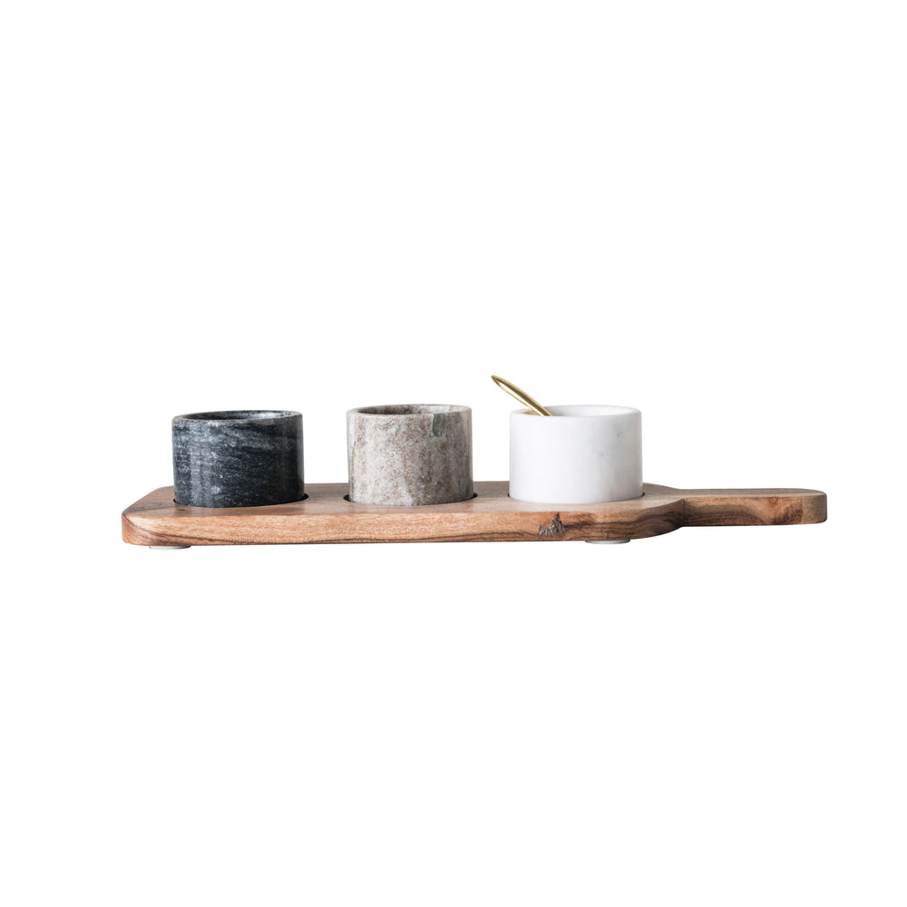 ACACIA WOOD BOARD WITH 3 MARBLE PINCH POTS & SPOON