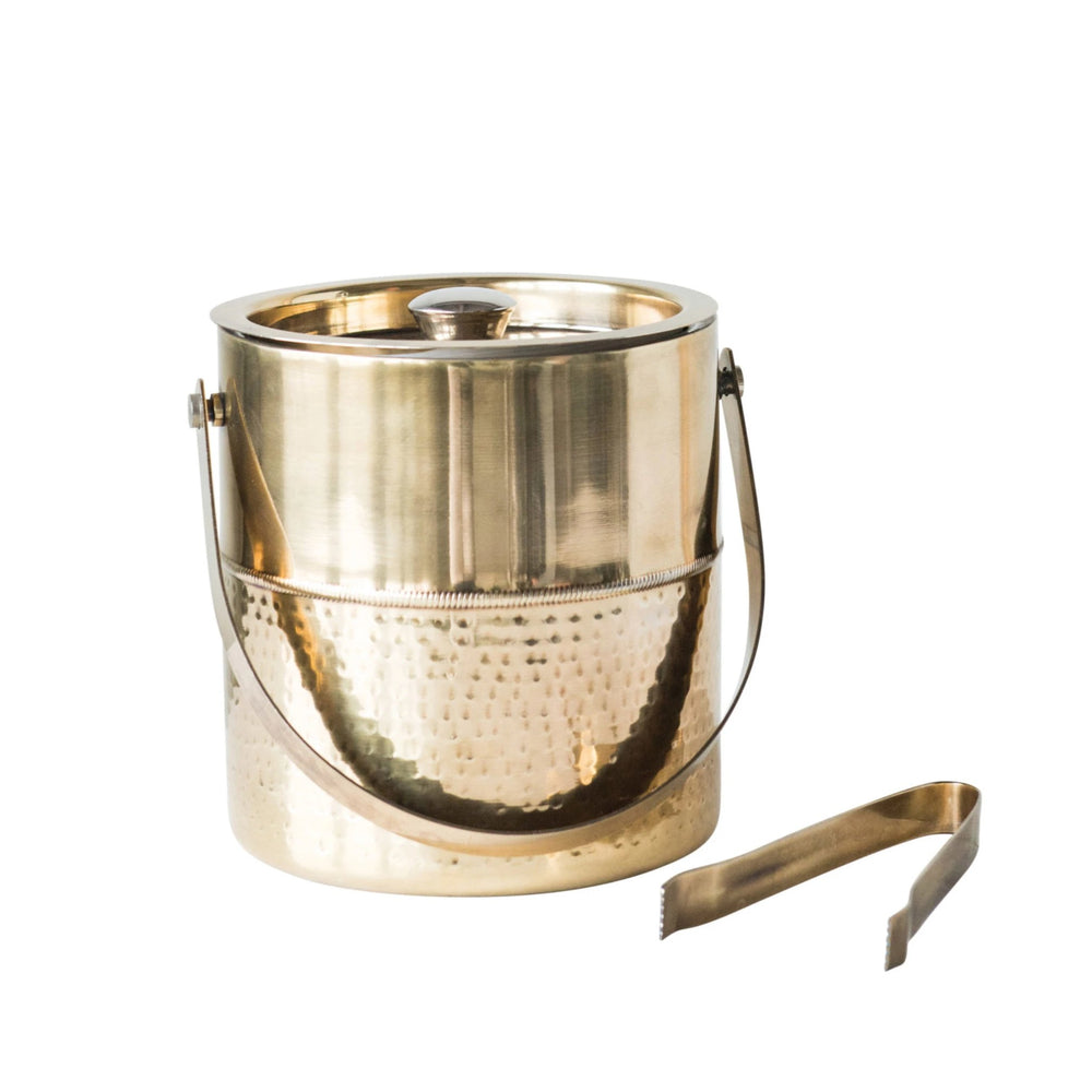 ROUND STAINLESS STEEL ICE BUCKET WITH TONGS
