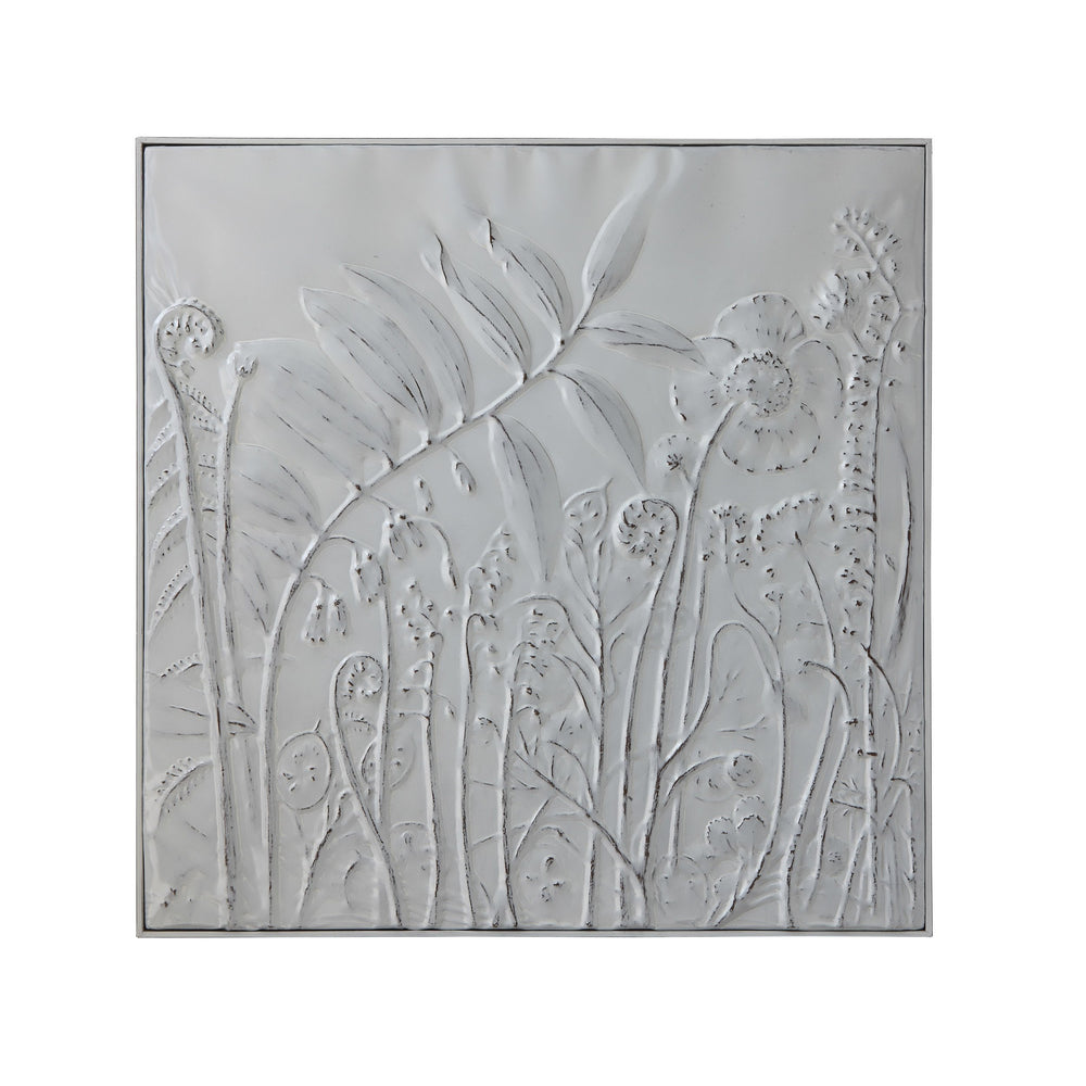 "36.25"" SQUARE DISTRESSED IRON WALL DECOR WITH EMBOSSED FLOWERS"