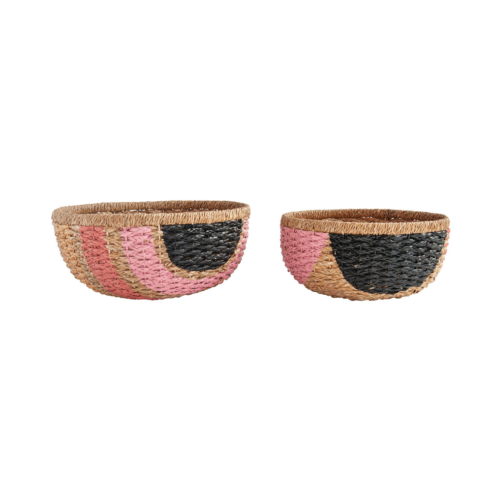 "7.5""H & 8.5""H HAND-PAINTED PINK & BLACK BANGKUAN BRAIDED BASKETS, SET OF 2"
