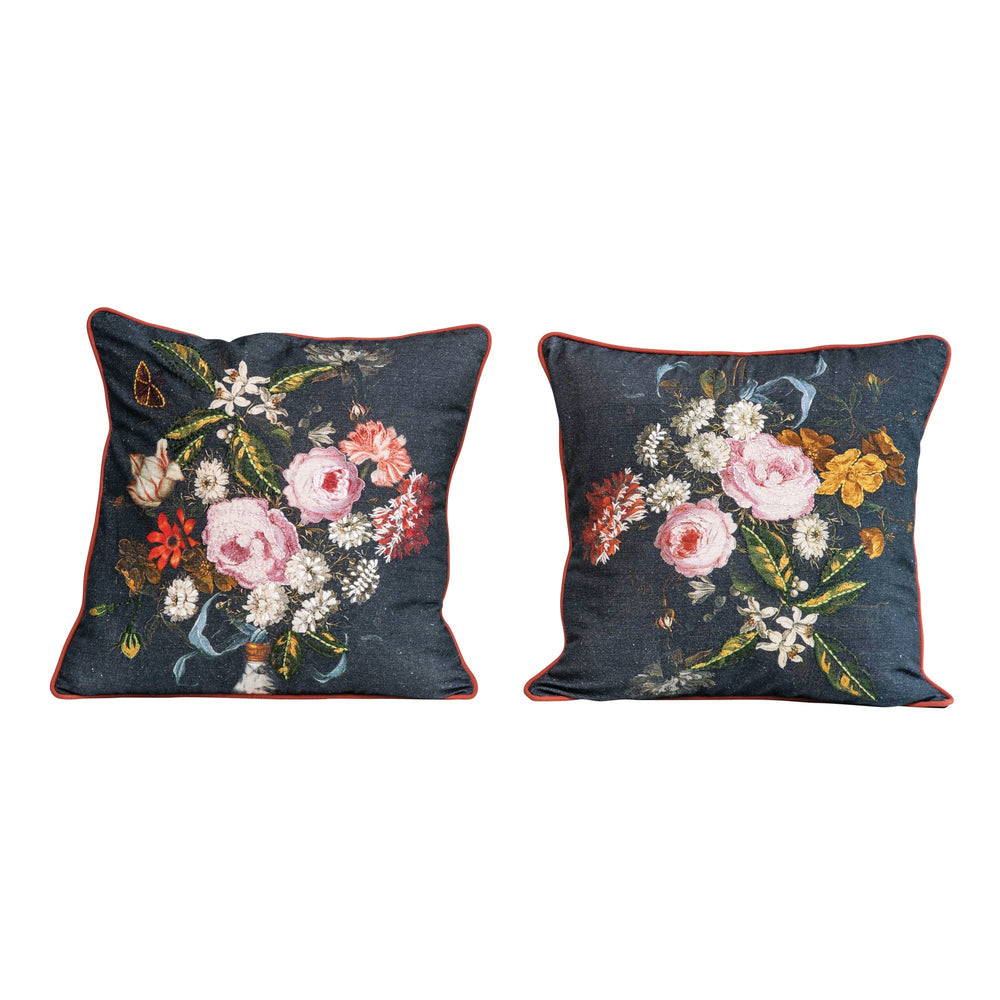 SQUARE COTTON FLORAL PRINTED & EMBROIDERED PILLOW, SET OF 2 STYLES