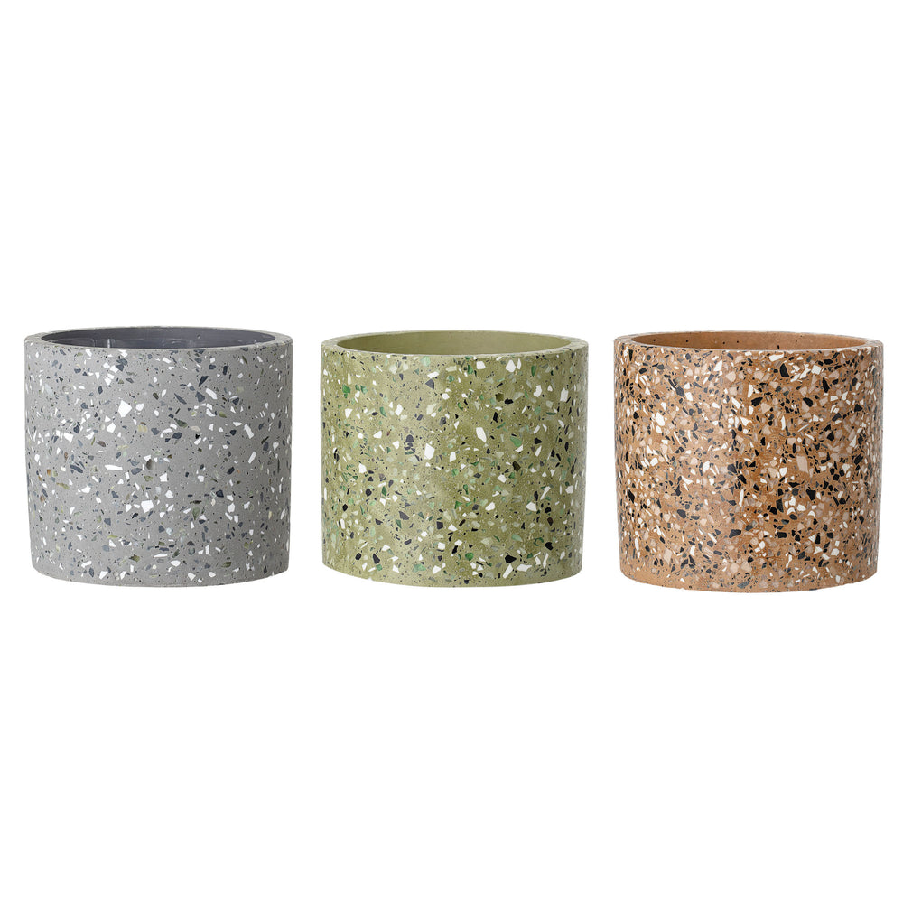 ROUND SPECKLED CEMENT TERRAZZO FLOWER POTS, SET OF 3 | 5.5""