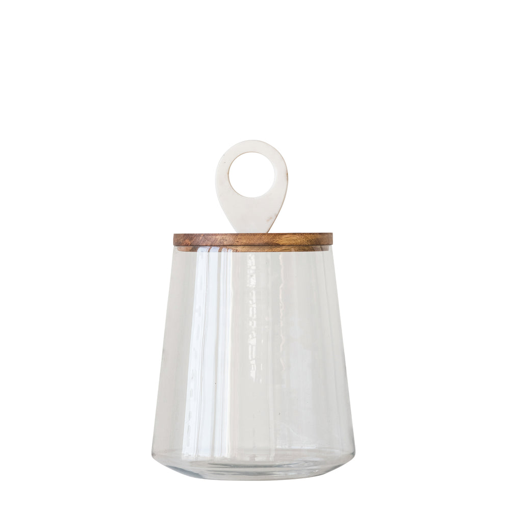 CLEAR GLASS JAR WITH MANGO WOOD & MARBLE LID