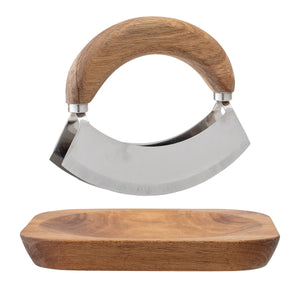 ACACIA WOOD & STAINLESS STEEL MEZZALUNA WITH SQUARE CUTTING BOARD (SET OF 2 PIECES)