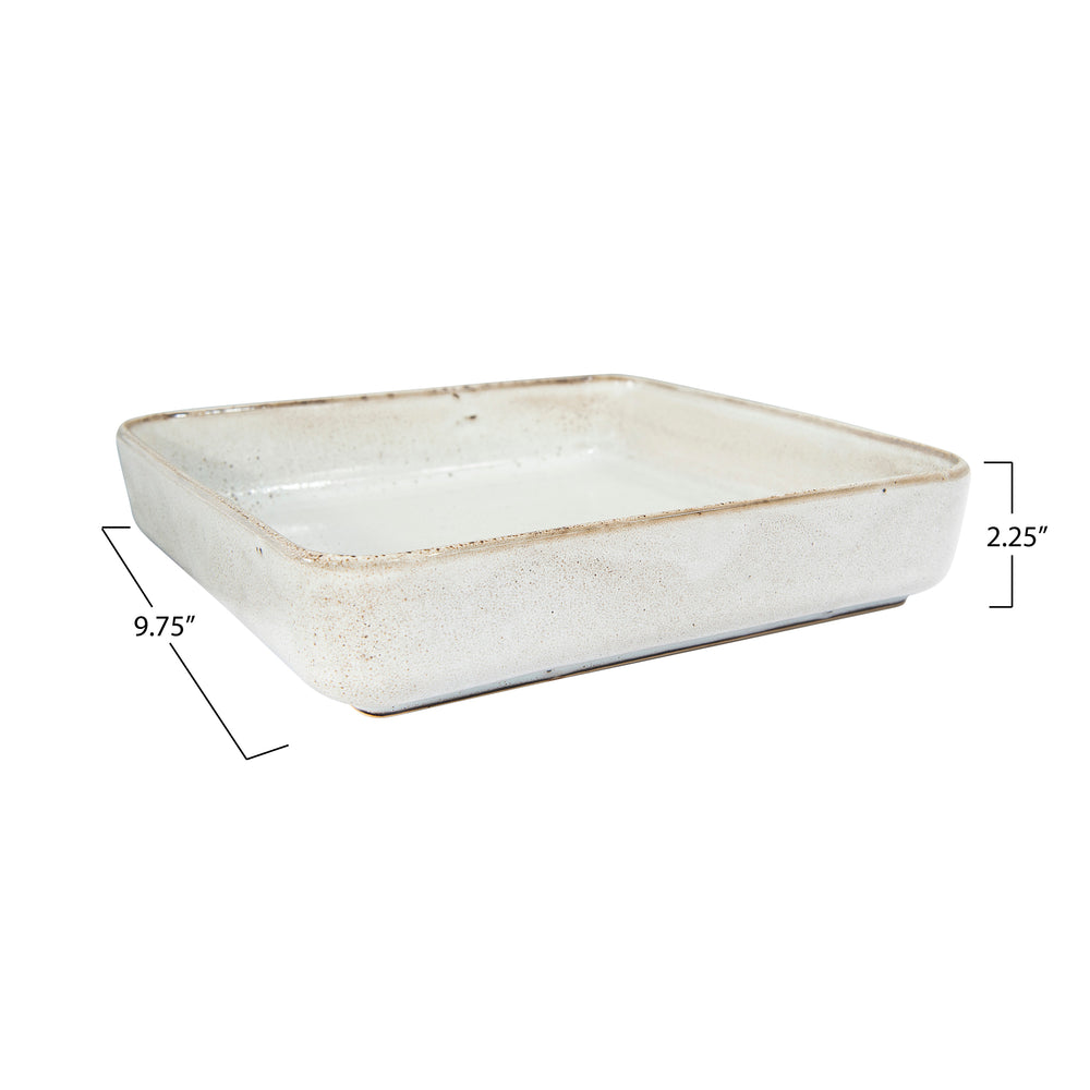 WHITE SQUARE STONEWARE TRAY/SERVING DISH WITH REACTIVE GLAZE FINISH