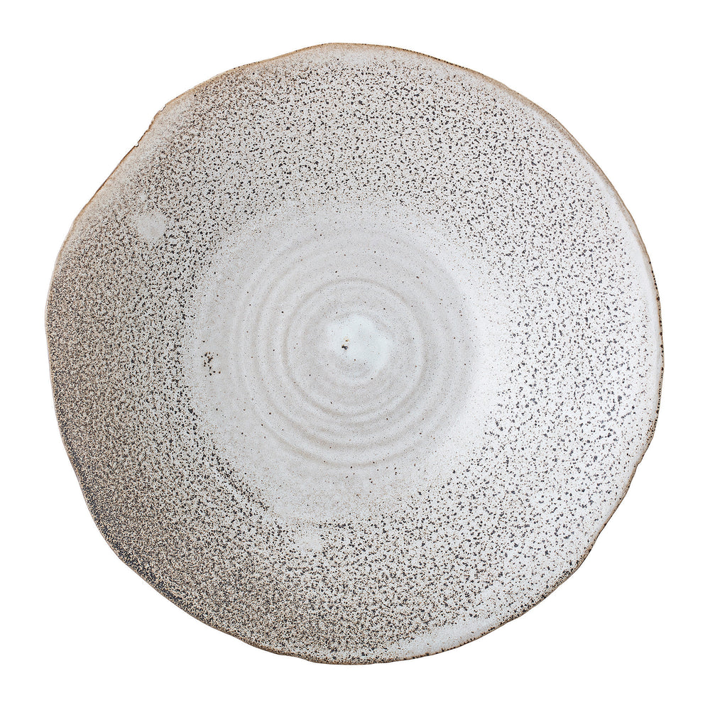 HANDMADE WHITE STONEWARE BOWL WITH IRREGULAR EDGE & REACTIVE GLAZE FINISH