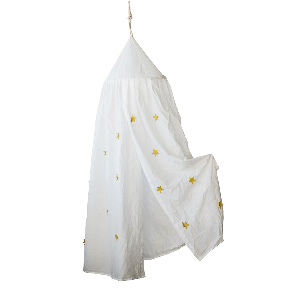 WHITE & GOLD COTTON CANOPY WITH APPLIQUED STARS