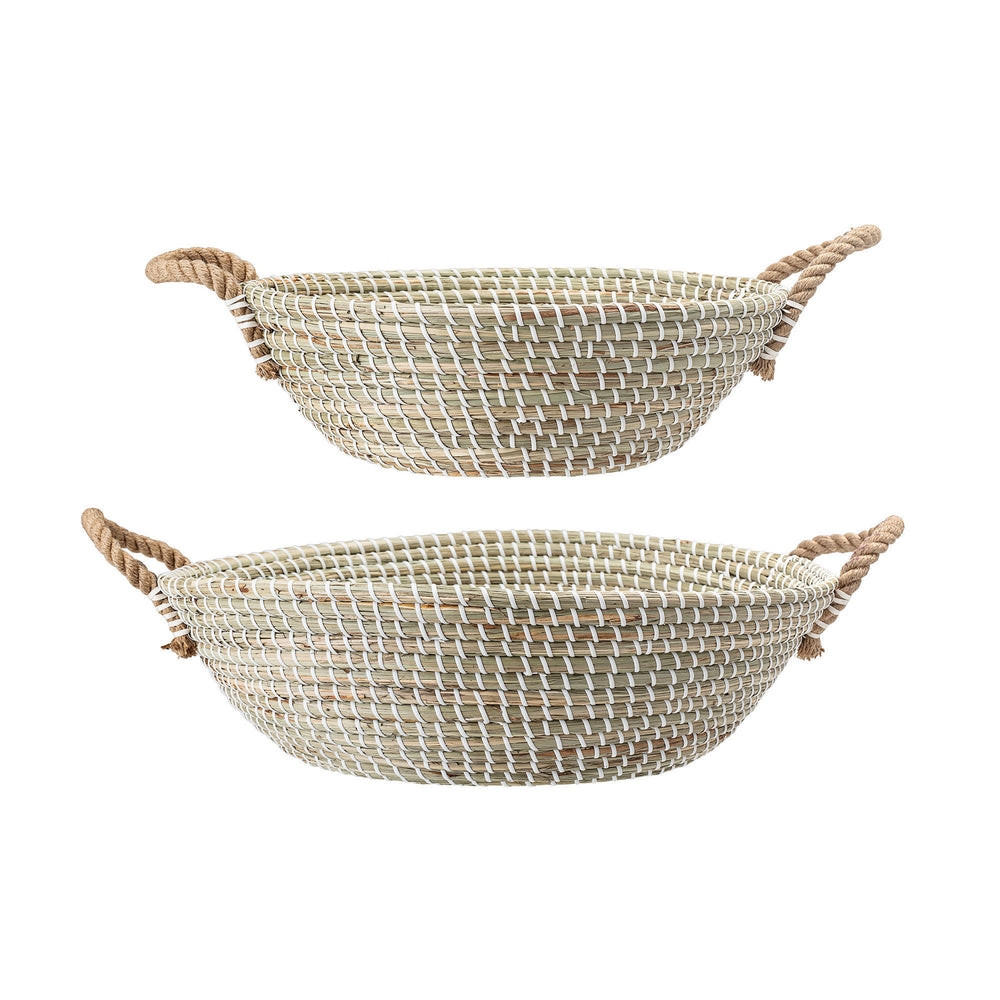 HANDWOVEN WHITE & BEIGE SEAGRASS BASKETS WITH ROPE HANDLES (SET OF 2 SIZES)