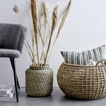 BLACK & BEIGE HANDWOVEN SEAGRASS BASKET