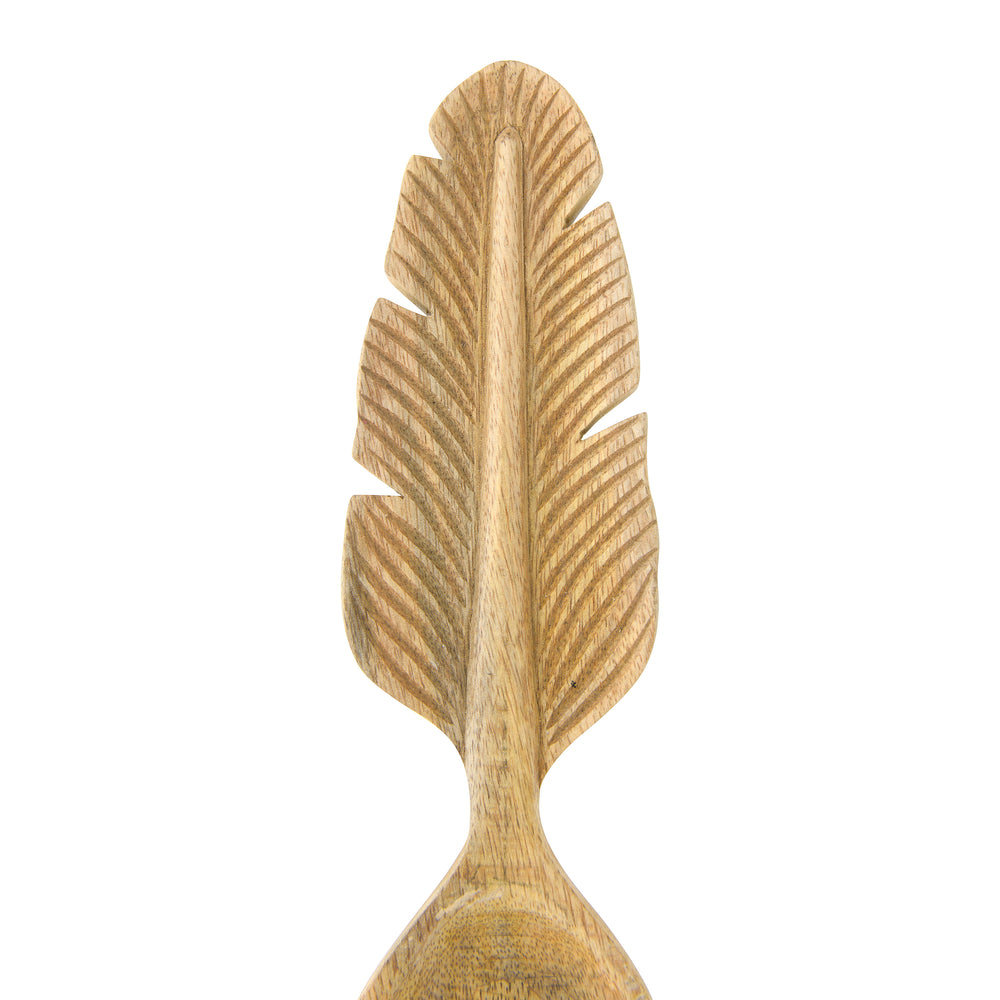 HAND-CARVED MANGO WOOD SALAD SERVERS WITH FEATHER-SHAPED HANDLES