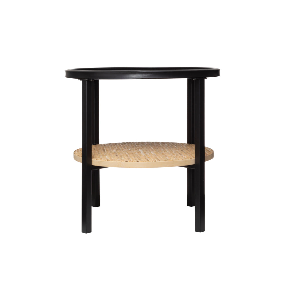 "17.75"" ROUND METAL ACCENT TABLE WITH TRAY TOP & BAMBOO SHELF"