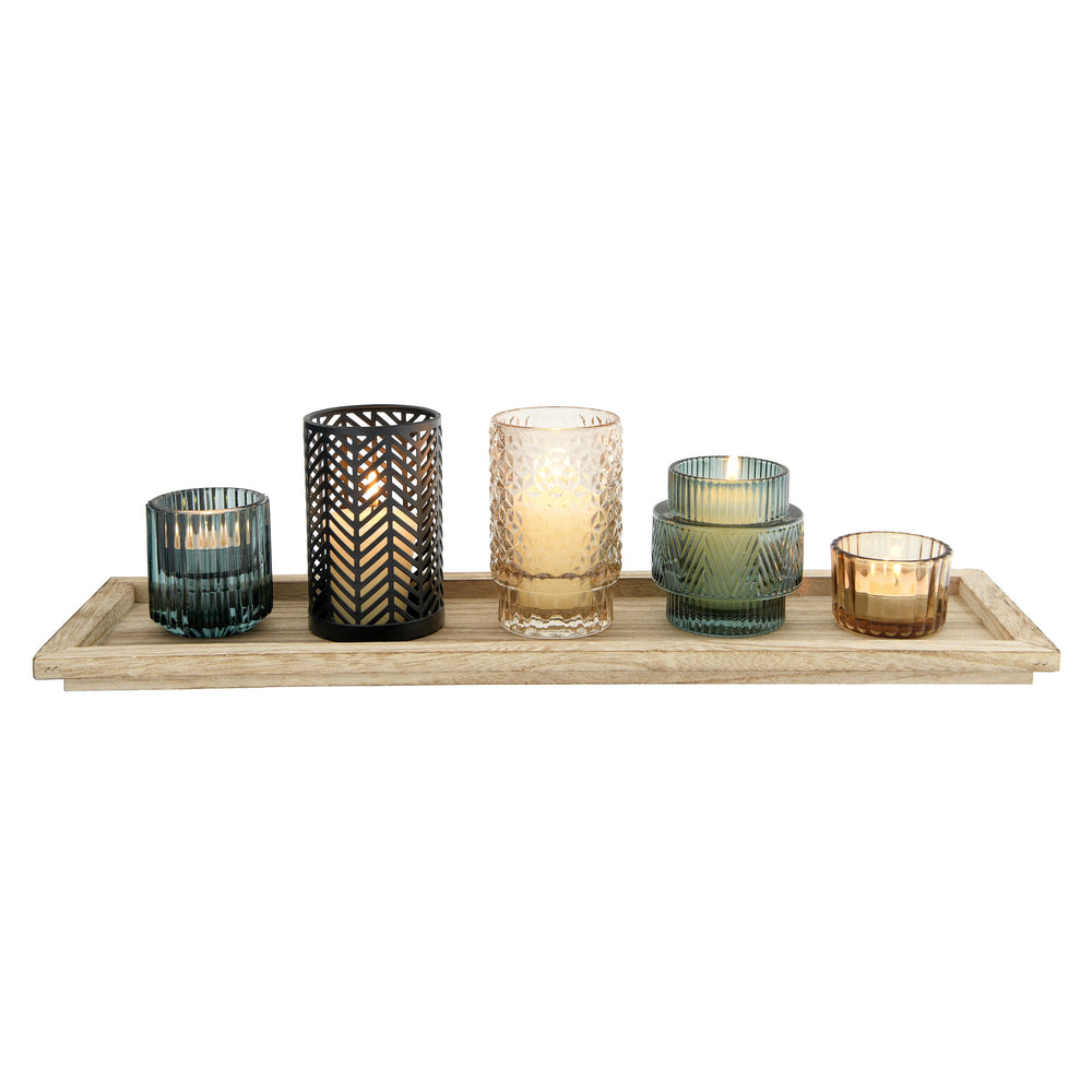 EMBOSSED GLASS & METAL TEALIGHT HOLDERS ON RECTANGLE WOOD TRAY