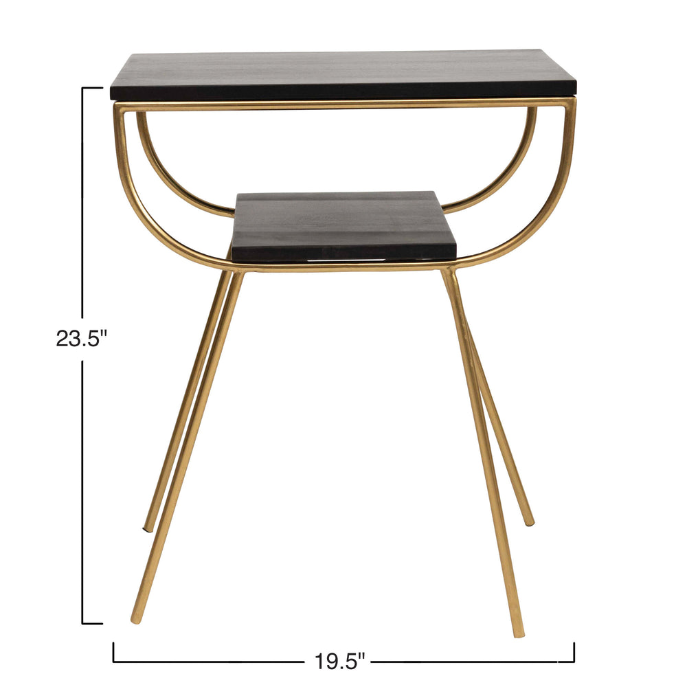 "19.5""L RECTANGLE MANGO WOOD ACCENT TABLE WITH METAL FRAME & WOOD SHELF"