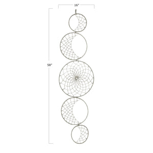 "MOON PHASE 58""H HANDWOVEN WOOL YARN WALL DECOR"