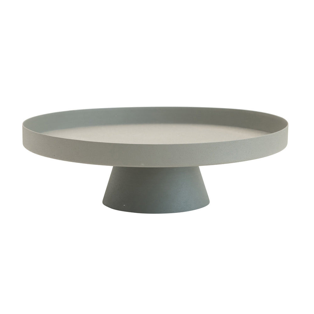 ROUND TEXTURED MATTE METAL TRAY WITH PEDESTAL BASE