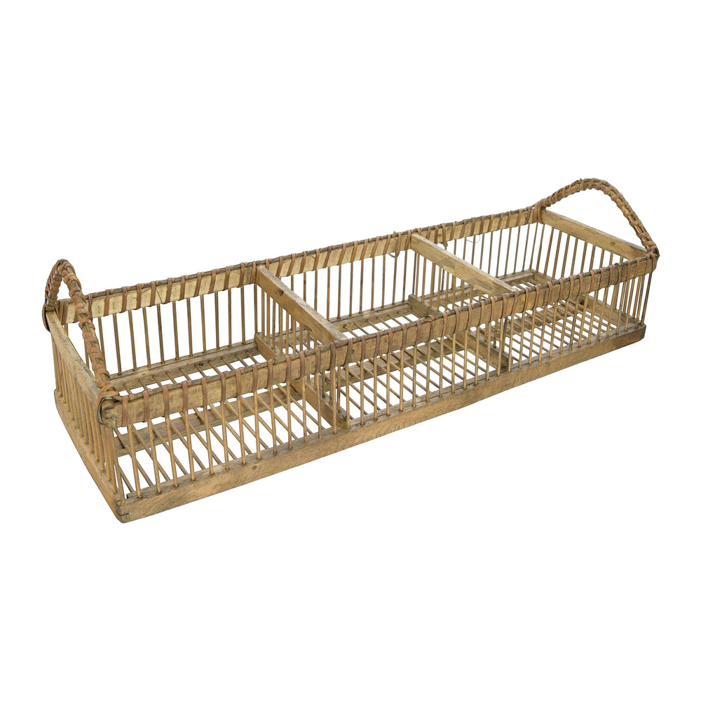 BAMBOO ORGANIZING TRAY WITH 3 COMPARTMENTS & HANDLES