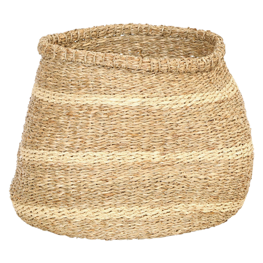 "15""R HANDWOVEN SEAGRASS BASKET WITH STRIPES"