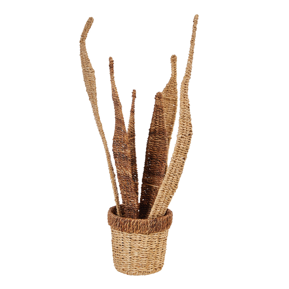 "26""H HANDWOVEN ABACA & SEAGRASS POTTED PLANT FIGURINE"